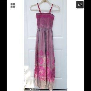 New! Anthropologie Lapis Pink Boho Maxi Dress NWOT